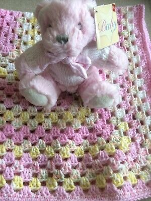 New Hand Crocheted Blanket And Bear Dressed In a Hand Knitted Jumper