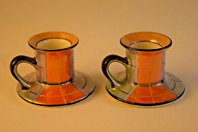 Noritake Art Deco Chambersticks or Candle Holders, Tan, Orange, Blue Lusterware