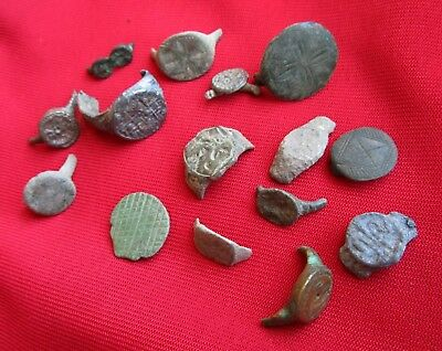 Ancient Roman / Celtic  ring's   fragments . Lot with 15 pieces . No 1