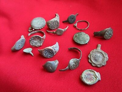 Ancient Roman / Celtic  ring's   fragments . Lot with 15 pieces . No 2