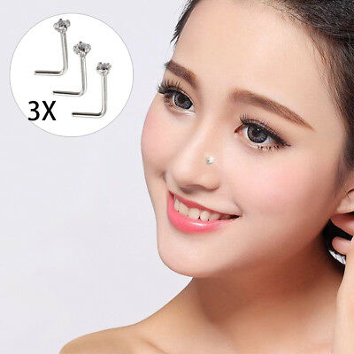 3X Crystal Nose Stud Sterling Silver Straight Thin Nose Pin L Shape Nose Studs