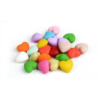 20Pcs Multi-Colors Heart Shape Teething Beads Food Grade Silicone Beads 20x20MM