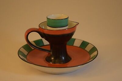 Noritake Ultra Art Deco Candle Holder, Chamberstick, Orange, Green, Black, Exc!