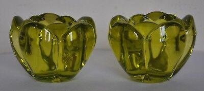 Glass Votives (Two) Lead Crystal European Made