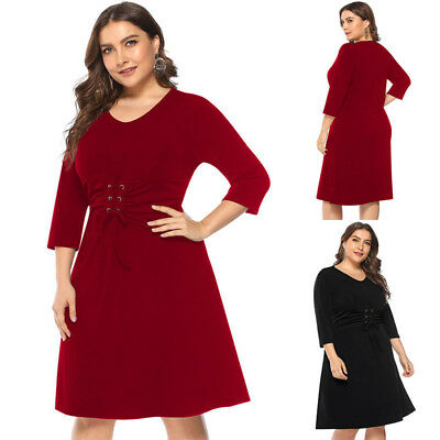 Women Lace-up 3/4 Sleeve Midi Party Cocktail Dress Plain Elegant Soft Mini Comfy