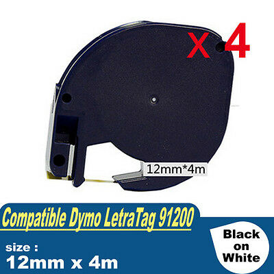 4x Compatible For Dymo LetraTag 91200 WHITE PAPER LABEL Tape S0721510 LT100H