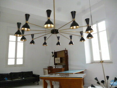 LUCI design 1960 , big moonlight chandelier , Arteluce, Sarfatti ,Stilnovo style