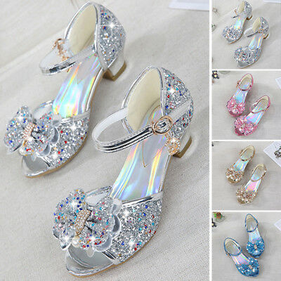 Toddler Kids Summer Party Princess Shoes High Heels Girls Glitter Bow Sandals