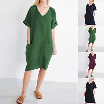 Summer Womens Cotton Linen Short Sleeve V-neck Pockets Loose Dress Fashion Style