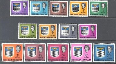 NORTHERN RHODESIA 1963 QEII Arms Complete Set to 20/- (14) MLH