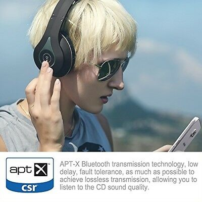August EP640 Bluetooth Wireless Stereo NFC Headphones with 3.5mm Wired Audio In,