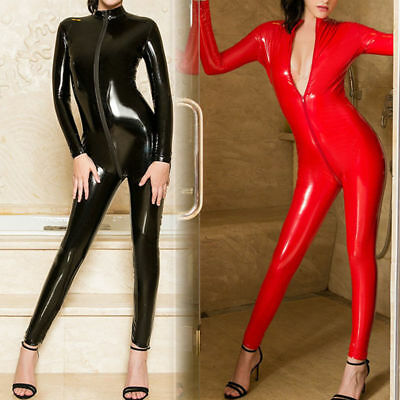Latex PVC Leder Wetlook Bodystocking Overall Body Catsuit Langarm 2-Way Zipper