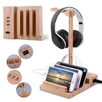 Bamboo Wood USB Charging Station Dock Hub with Headphone Stand for Phone Tablet