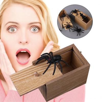 Funny Scare Box Spider Hidden in Case Prank-Wooden Scarebox Joke Trick Play Toys