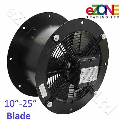 Industrial Duct Fan Cased Axial Commercial Kitchen Canopy Extractor 250 - 630mm