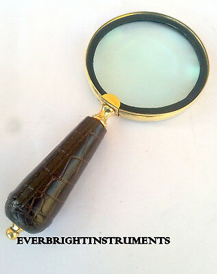 Beautiful Antique Style Brass Hand Magnifying Glass Decorative Accessory