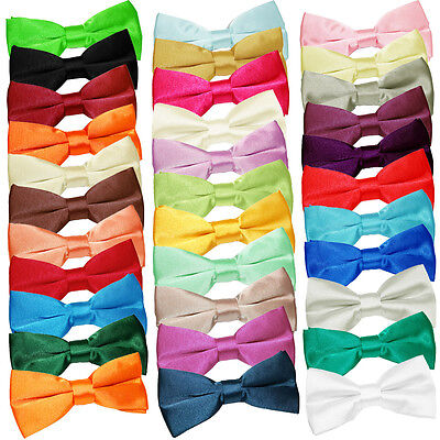 Satin Plain Solid Formal Casual Wedding Classic Mens Pre-Tied Bow Tie