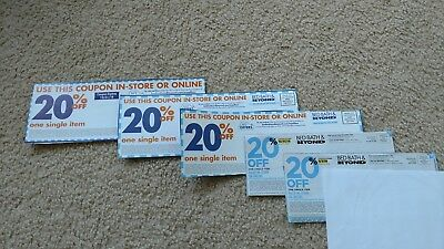 "5 NON-EXPIRED Bed Bath & Beyond Coupons ""20% Off Any Item"""