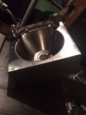 Hand Wash Sink With Taps Stainless Steel Catering Janitorial Commercial
