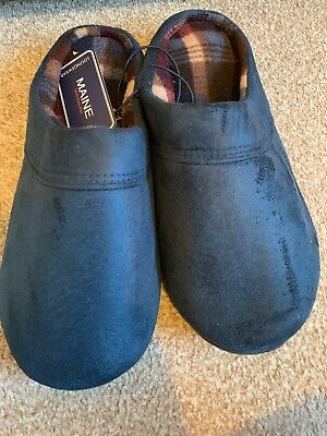 Maine New England Men Navy Suedette Mule Slippers 8