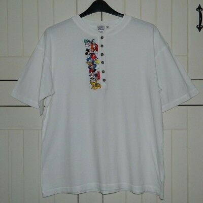 Men's Rare Vintage Disney Store White Cotton Top With Embroidered Characters