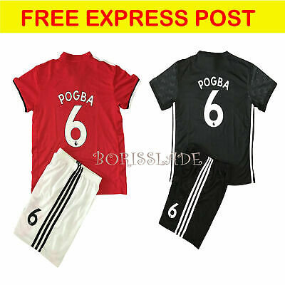 sale retailer 4102e b796a NEW KIDS SOCCER Jersey Manchester United Cap Home #6 Paul Pogba Top + Short  Set