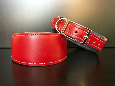 S/M Leather Dog Collar FELT LINED Greyhound Lurcher Whippet Saluki RED MATTE