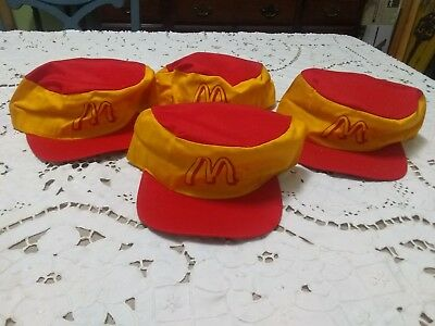 Vintage 1980's McDonald's  Employee Hat Cap Snapback yellow red lot of 4 nos!