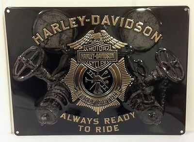 Ande Rooney HARLEY DAVIDSON GAUGES Tin Firemen Firefighter HD Fire Sign  New