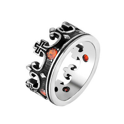 Retro Gothic Mens 316L Stainless Steel Ancient Roman Crown Cross CZ Band Ring