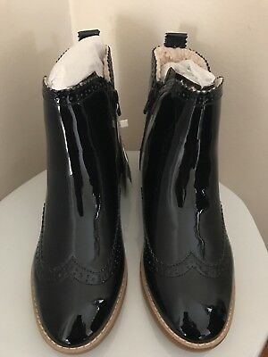 77280cd88a22a ZARA PATENT FINISH Blue Ankle Boots Clear Heel Size 11 Black EUC Ref ...