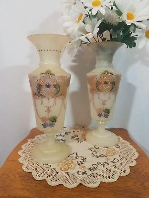 Pair of Antique English Bristol Glass Hand Painted Vases with Gold Accent