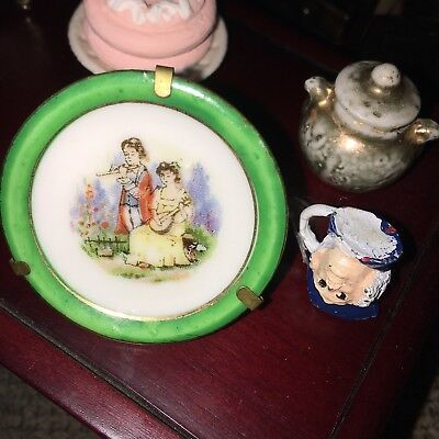 Rare Antique / Vintage  Tiny Japanese Porcelain Plate For Dolls House/collector!