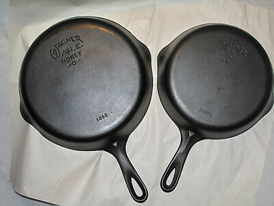 Vintage Wagner Ware Cast Iron SKILLET SET No 8 No 6 RESTORED Marked Sidney O