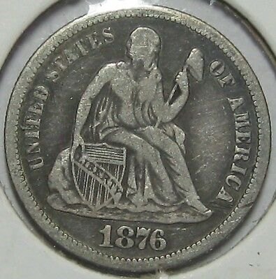 1876-S Seated Liberty Silver Dime, Very Fine!!!  Free Shipping!!!