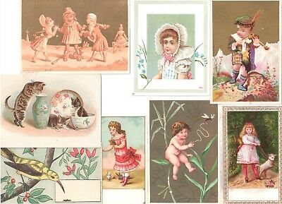 Odd Lot: 8 Antique Greeting Cards Children Lamb Cats Bird Fairy Drama, Act 3
