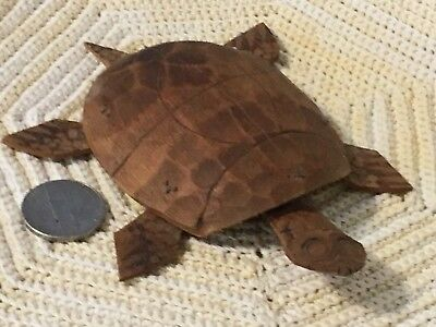Vintage Small Hand Carved Coconut Shell Sea Turtle Unique!