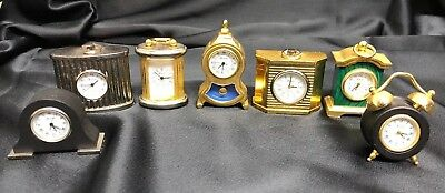 Collection of 7 Miniature Brass Ornamental Replica Clocks From Gorham