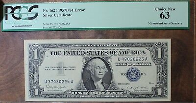1957 B One Dollar Silver Certificate Error Mismatched Serial# PCGS 63 FR # 1621