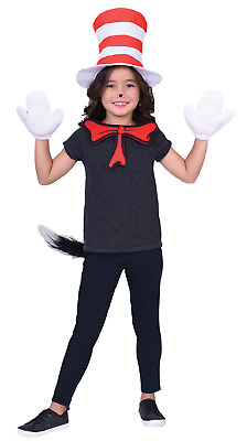 Childrens Boys Girls Official Cat In The Hat Dr Seuss Fancy Dress Costume Kit