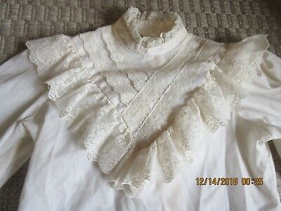 1980's Vintage Girls Lace Ecru Dressy 3/4 Sleeve Blouse PICTURE M Size 14 Youth
