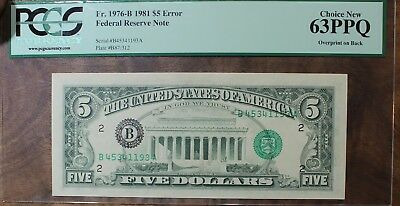1981 Five Dollar Federal Reserve Error Note PCGS 63PPQ Serial # On Reverse $5.00