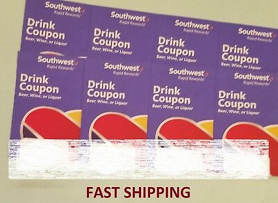 (x8) Southwest Airlines Coupons Drink Voucher Ticket. Exp 7/31/19. Fast Shipping
