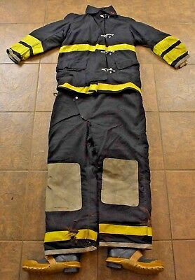 Globe Coat & Pants Fire Fighter Turnout Gear Black & Yellow military issue