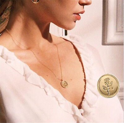 Fashion Women Gold Rose Flower Necklace Chain Pendant Chunky Charm Jewellery