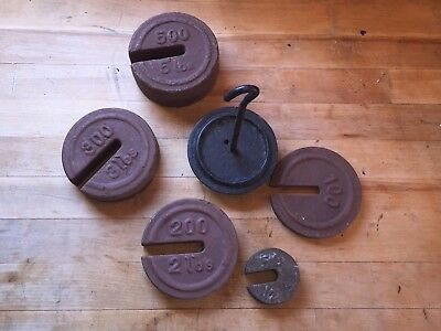 Set Of Five (5) Platform Scale Weights & Weighted Hanger. Feed Bag Antique