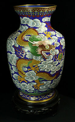 Chinese Cloisonné Vase - Golden Imperial Dragons in the Clouds