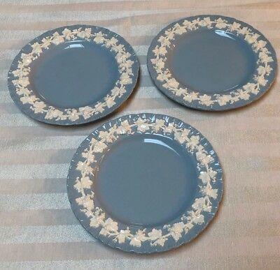Wedgwood Embossed Queensware Cream Lavender Smooth 3 BREAD PLATES  DATE CODE1950