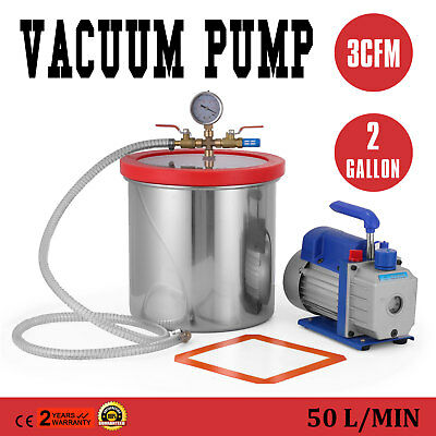 2 Gallon 7,6 litre Vacuum Chamber Kit With 3 CFM Pump irrigation Conditioning
