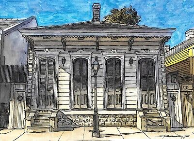 """LARGE 100% Hand Painted Art FRENCH QUARTER NEW ORLEANS """"French Quarter House"""""""